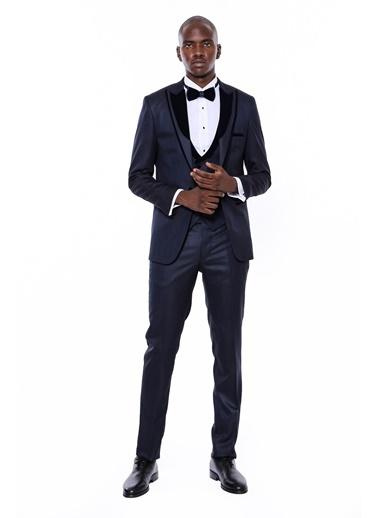 Wessi Erkek Yelekli Damatlık Slim Fit Takım Elbise Lacivert
